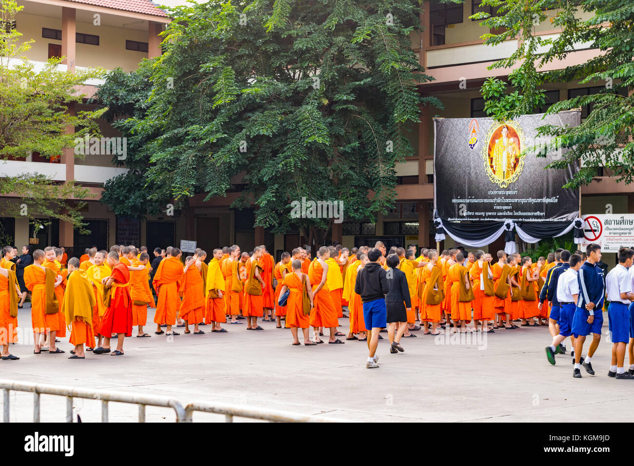 Monk school daily life, Thai monks queue up for school in Chiang Mai, Thailand - Stock Image