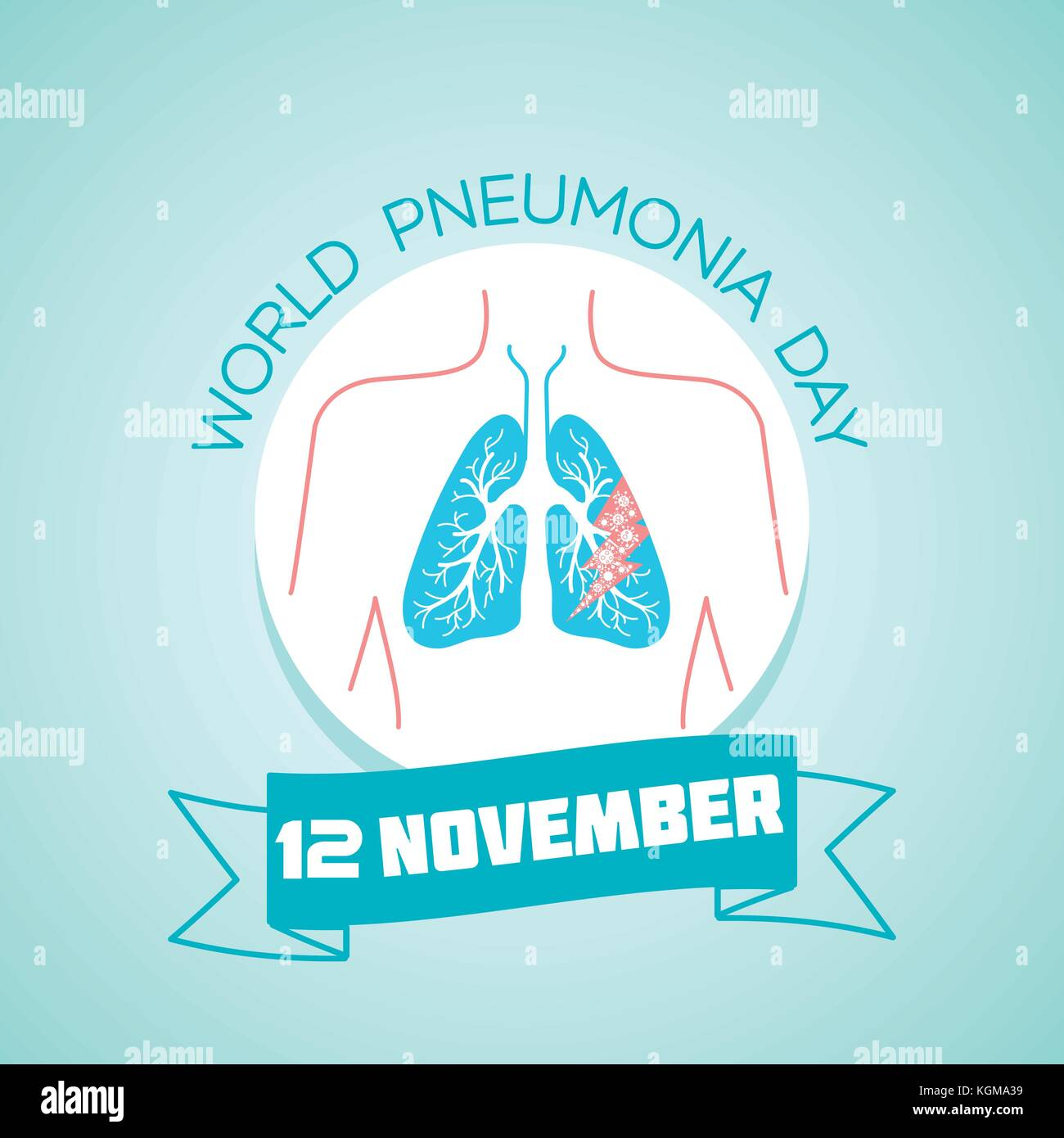 Calendar for each day on november 12. Greeting card. Holiday -  World Pneumonia Day. Icon in the linear style - Stock Image