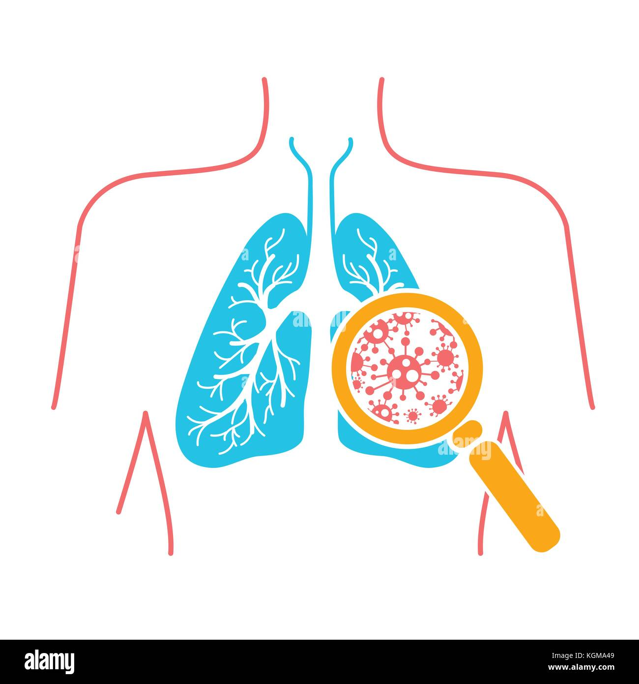 icon of lung disease, pneumonia, asthma, cancer in the form of lung anatomy and viruses causing disease. Icon in - Stock Image