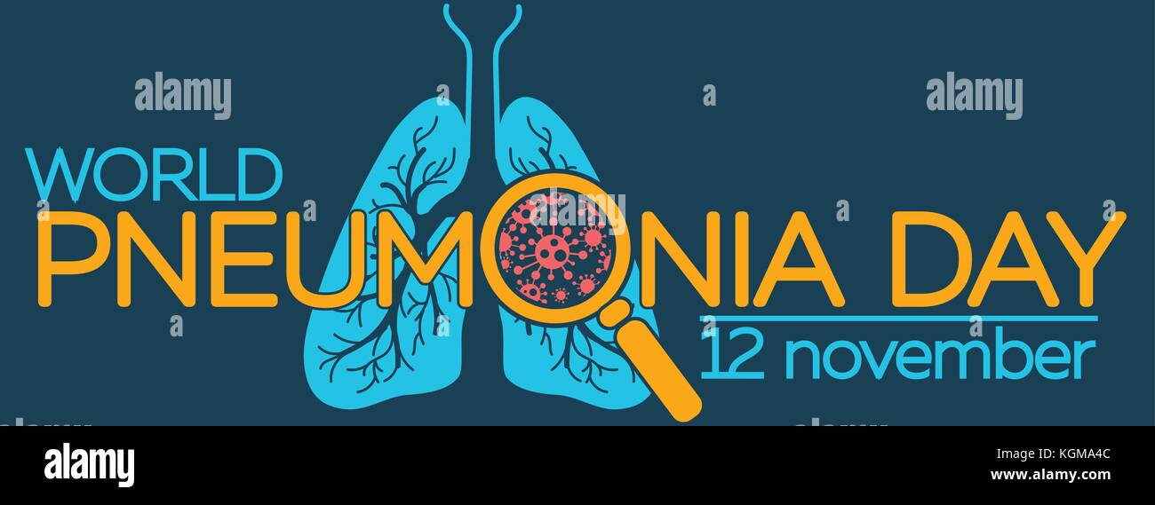 banner about pneumonia in the form of anatomy of the lungs and bacteria causing disease. illustration in the linear - Stock Image