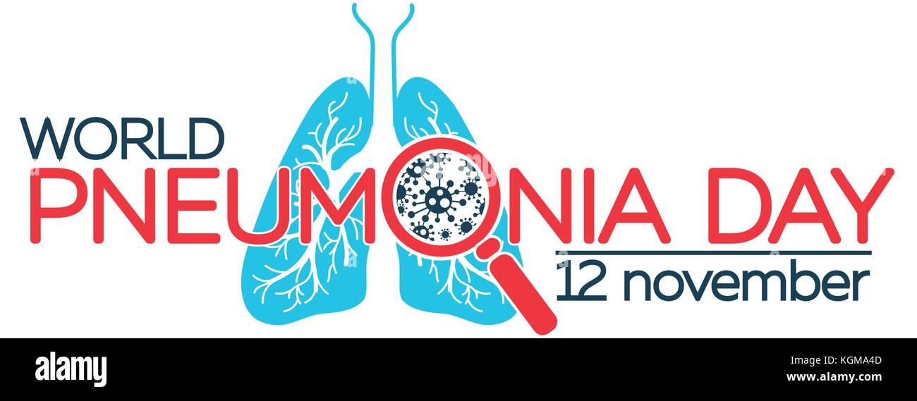 banner about pneumonia in the form of anatomy of the lungs and bacteria causing disease. illustration in the linear - Stock Vector