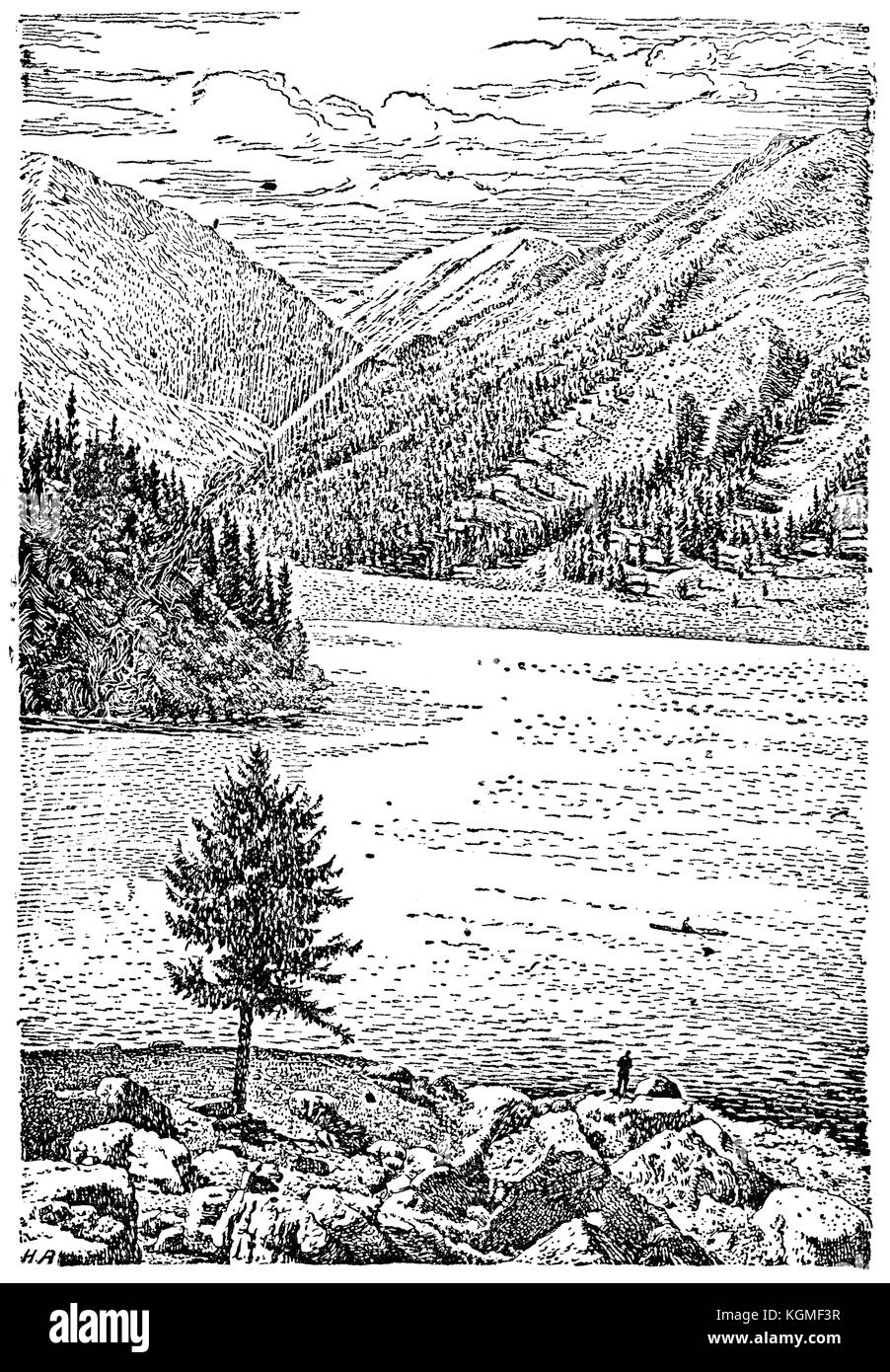 The Almaty Lake in the Tian Shan - reproduction of illustration from the book Union of Soviet Socialist Republics, - Stock Image