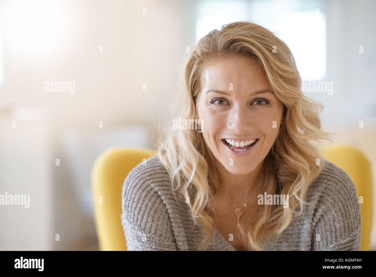 Portrait of beautiful 40-year-old blond woman - Stock Image