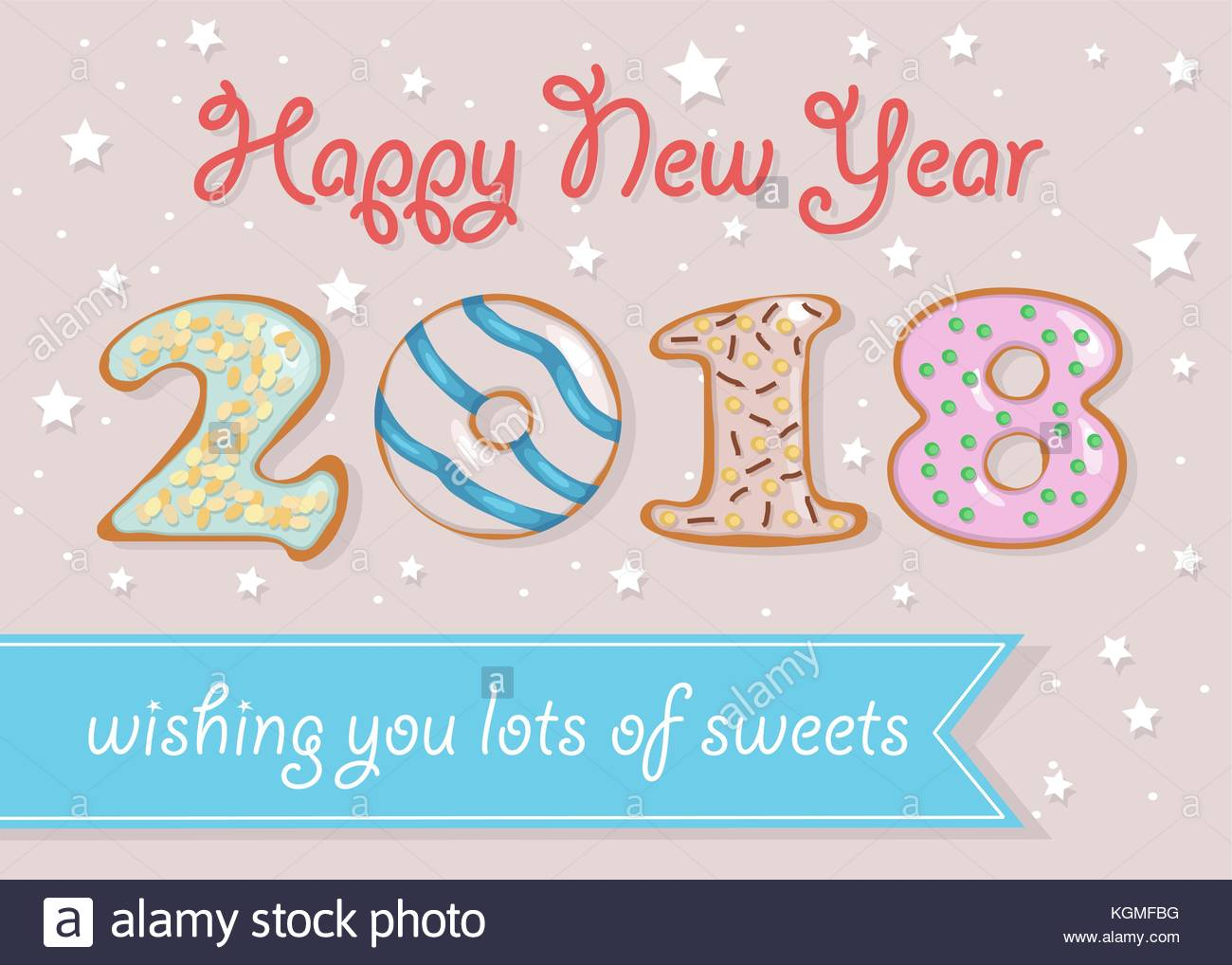 happy new year 2018 numerals are as sweet white chocolate donuts blue banner with text wishing you lots of sweets pink background with stars and sp