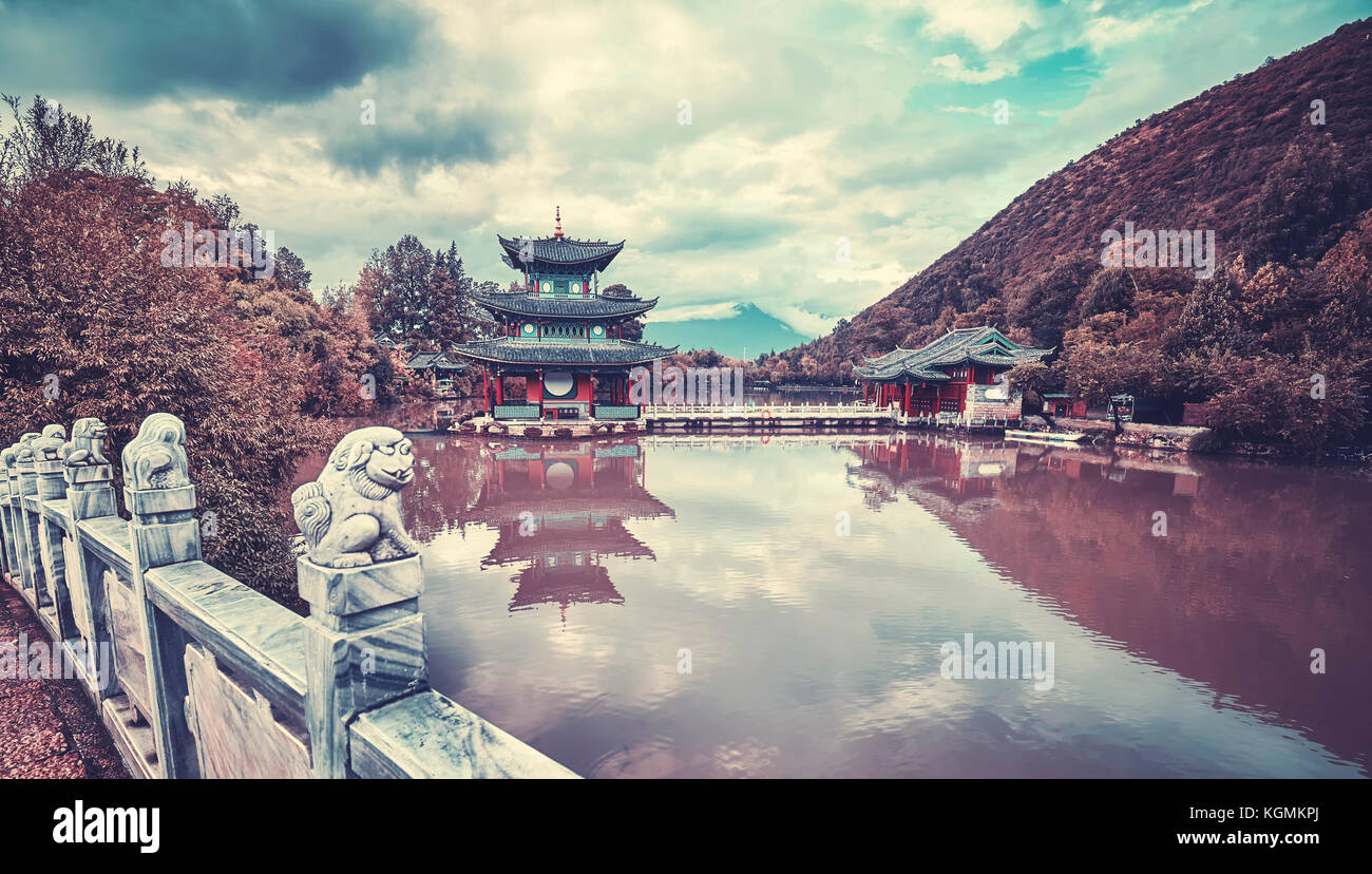 Vintage toned picture of Jade Spring Park in Lijiang, China. Stock Photo