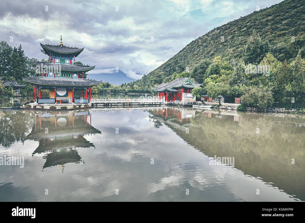 Jade Spring Park in Lijiang, retro color toned picture, China. - Stock Image