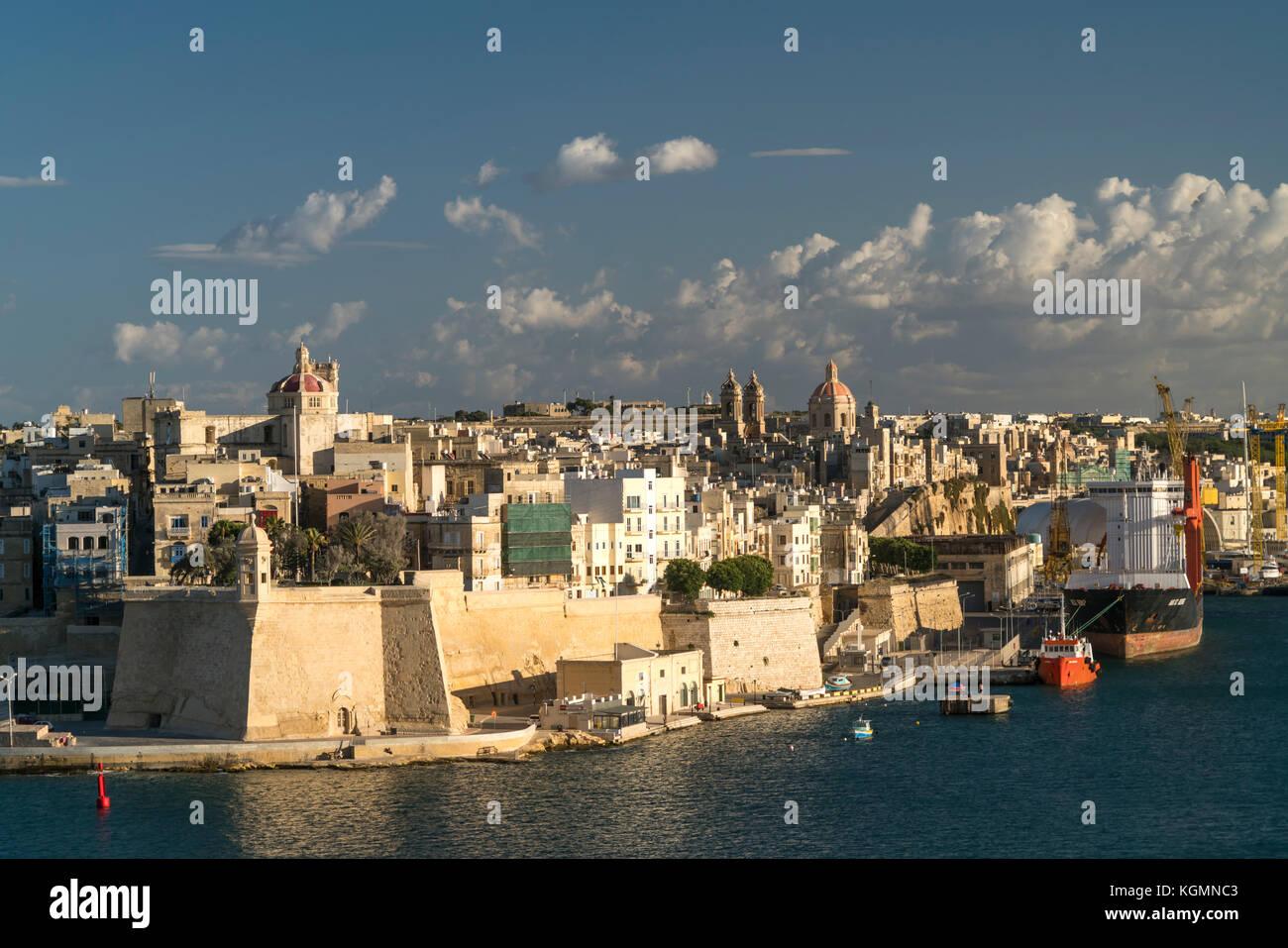 Blick auf Senglea, Valletta, Malta | view over Senglea, Valletta, Malta - Stock Image