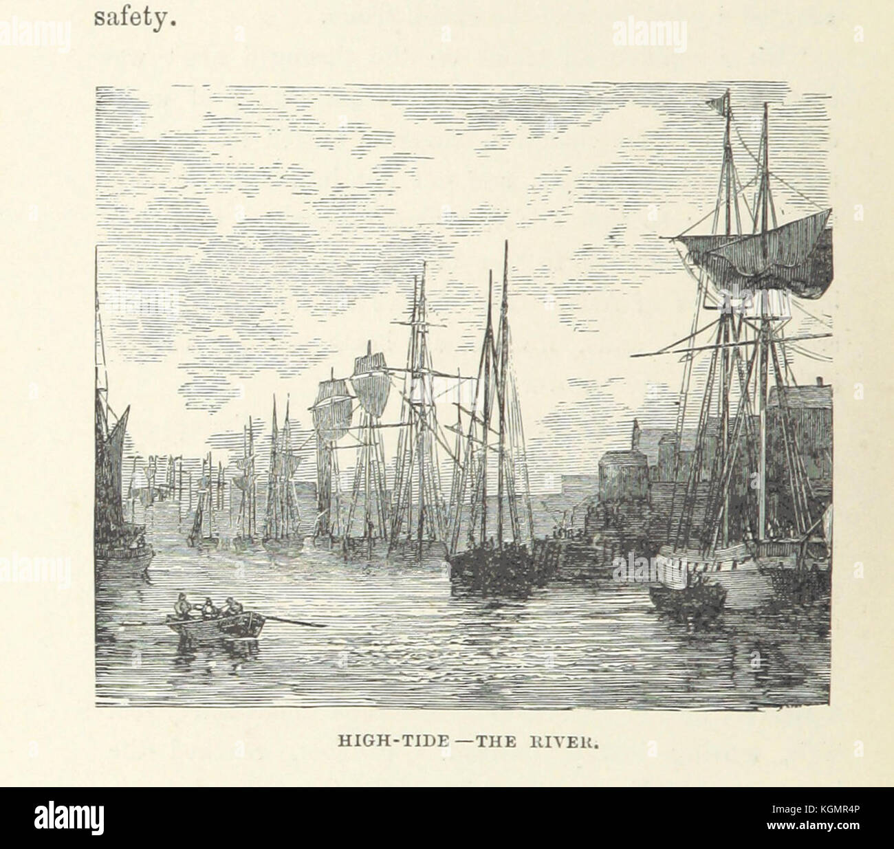 historic drawing image of old sailing ships and rowing boats on