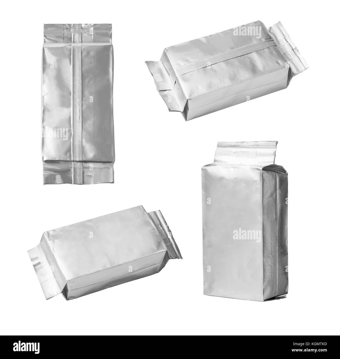 close up of an aluminum bag set on white background - Stock Image