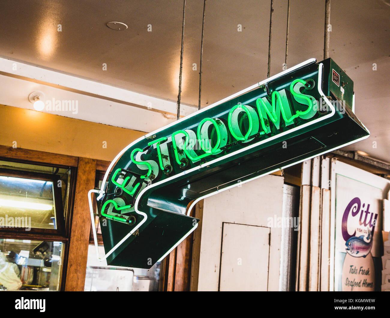 Restrooms in Neon - Stock Image