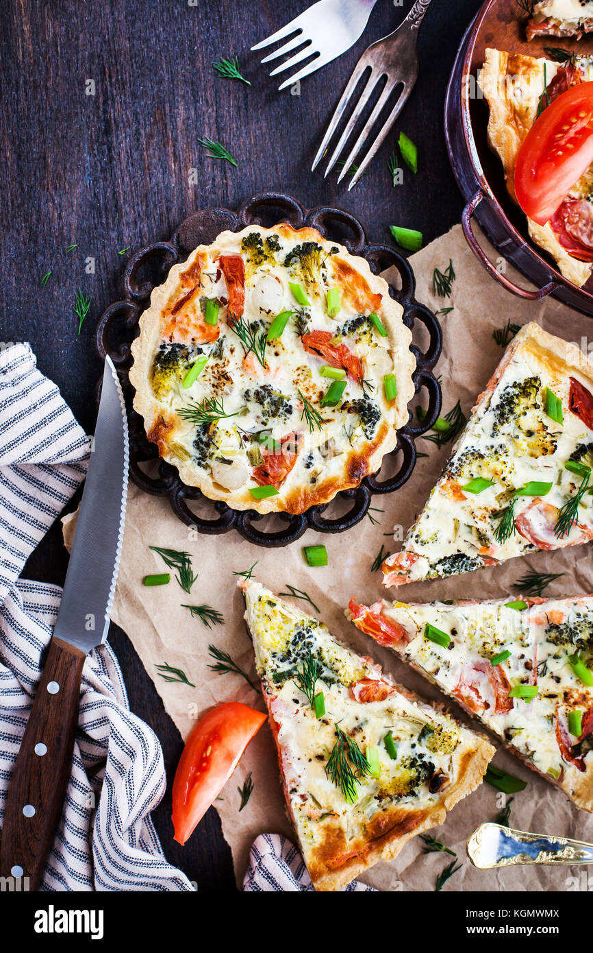 Quiche with salmon vegetables, top view Stock Photo