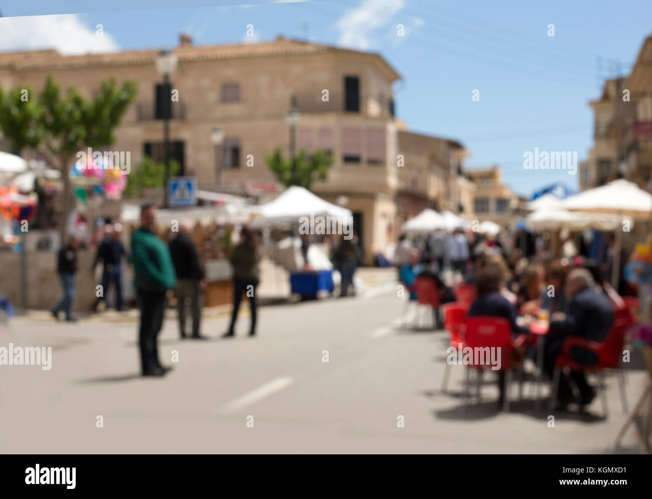 Abstract blur image of day market on street for background usage. - Stock Image