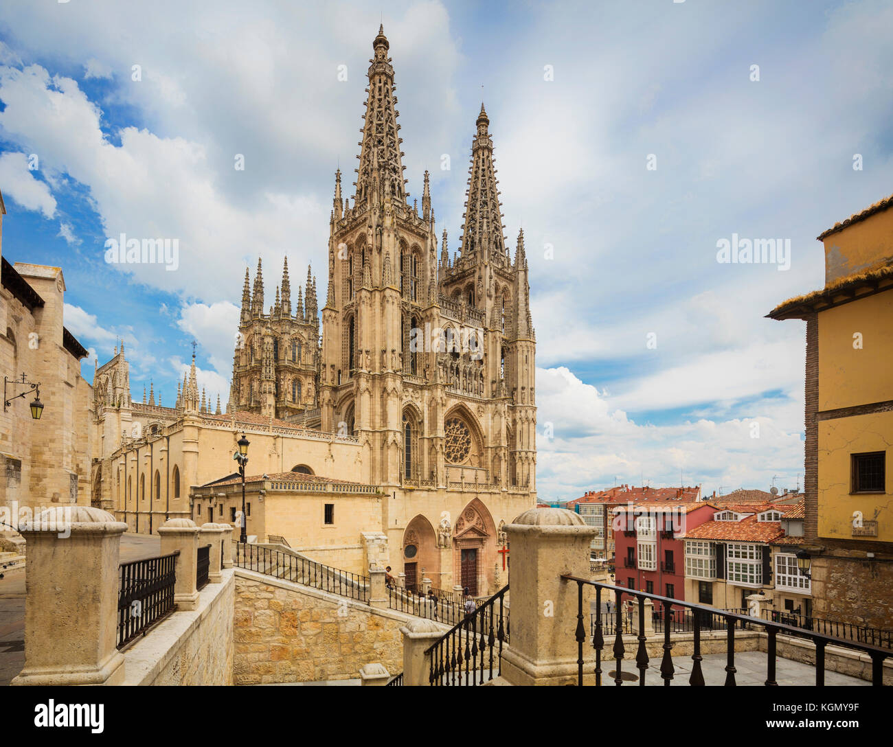 Burgos, Burgos Province, Castile y Leon, Spain.  The Gothic cathedral.  Construction began in the 13th century. - Stock Image