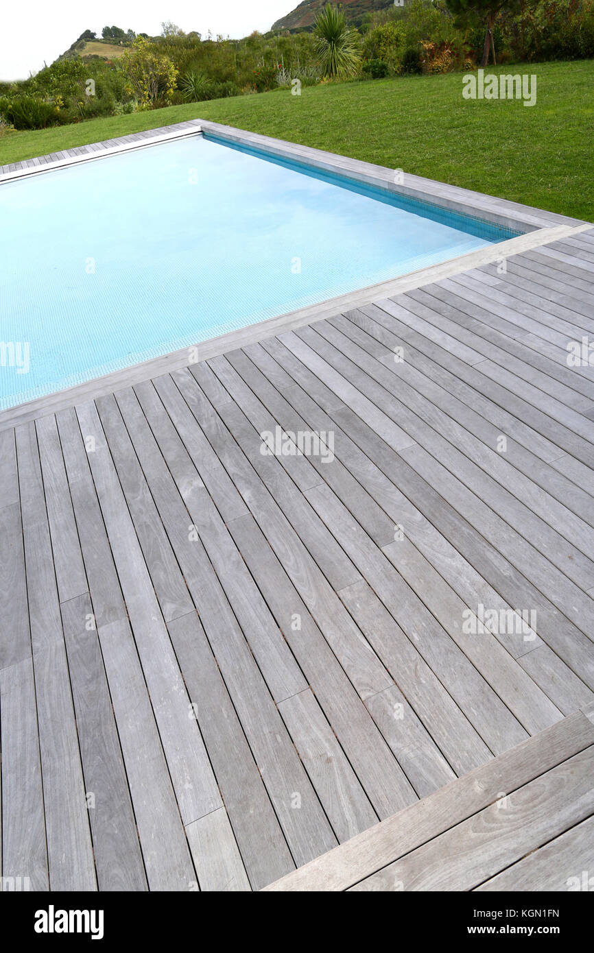 Closeup Of Private Pool And Wood Deck Stock Photo Alamy