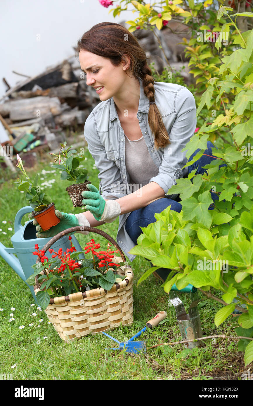 Cheerful woman gardening at home in springtime - Stock Image