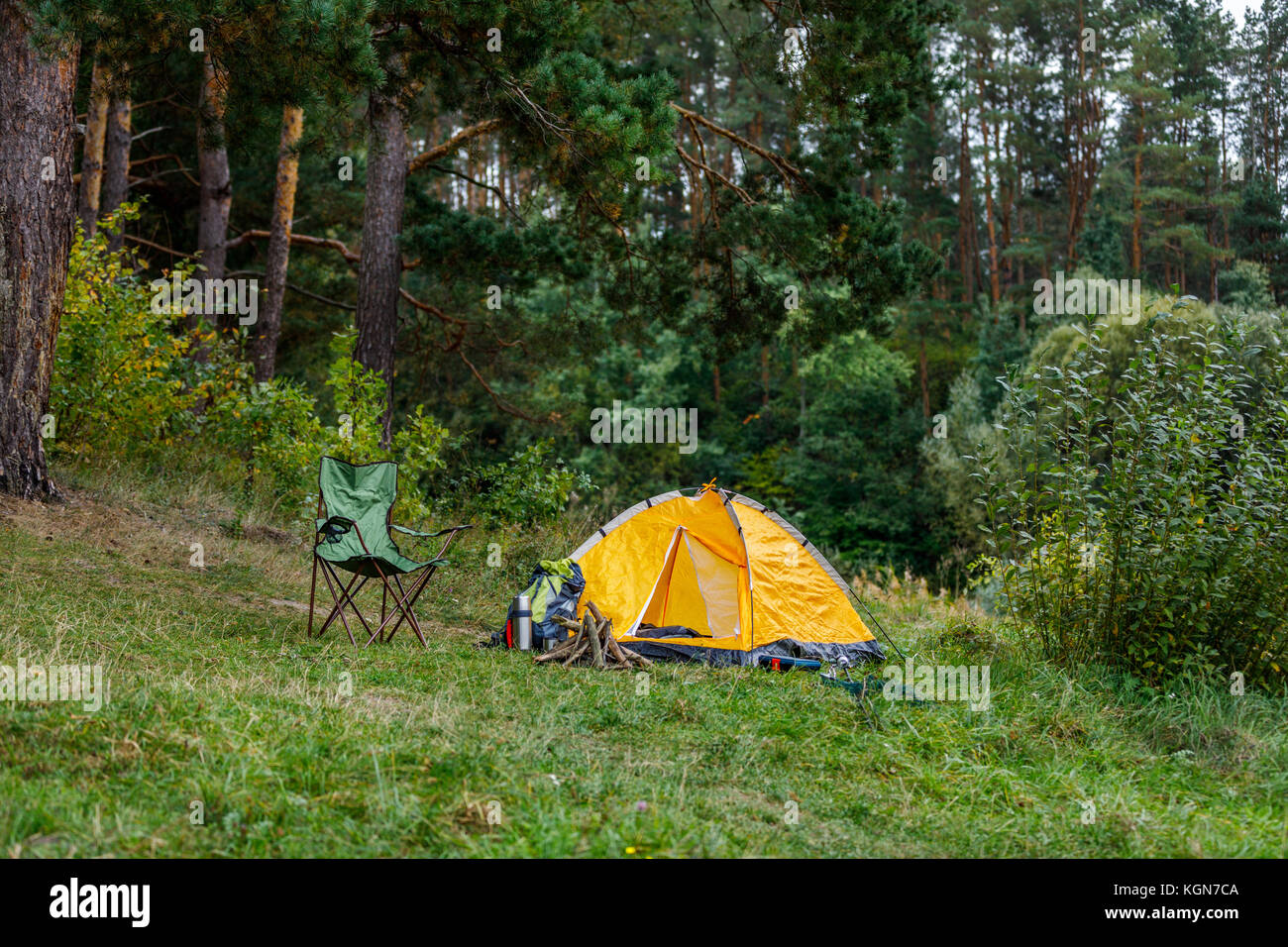 camping with tent in forest - Stock Image