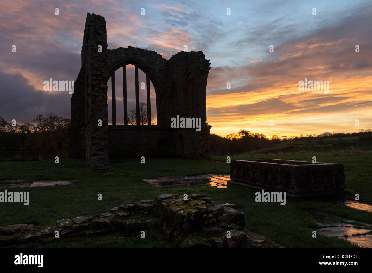 Dawn Light at Egglestone Abbey Near Barnard Castle, Teesdale, County Durham UK - Stock Image