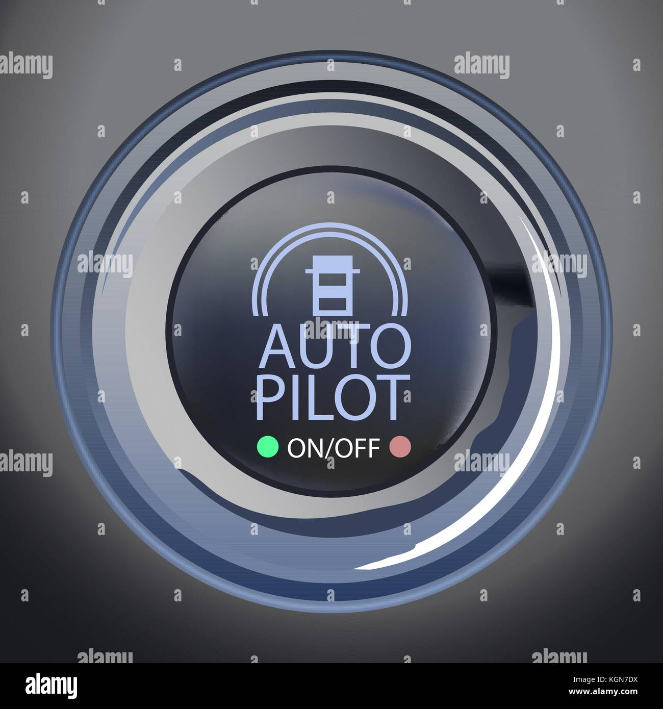 Vector Illustration of Autopilot Button, Eps10 Vector, Transparency and Gradient Mesh Used - Stock Image