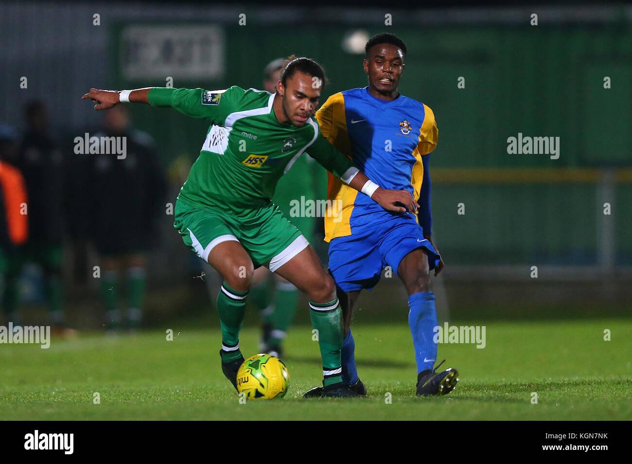 Quba Gordon of Haringey and Jonathan Nzengo of Romford during Romford vs Haringey Borough, Bostik League Division - Stock Image