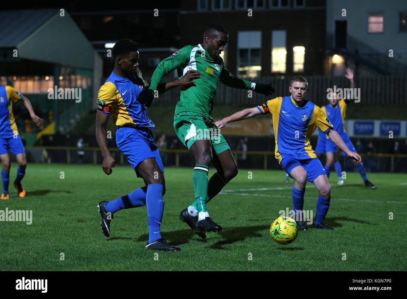 Quba Gordon of Haringey and Danny Cossington of Romford during Romford vs Haringey Borough, Bostik League Division - Stock Image