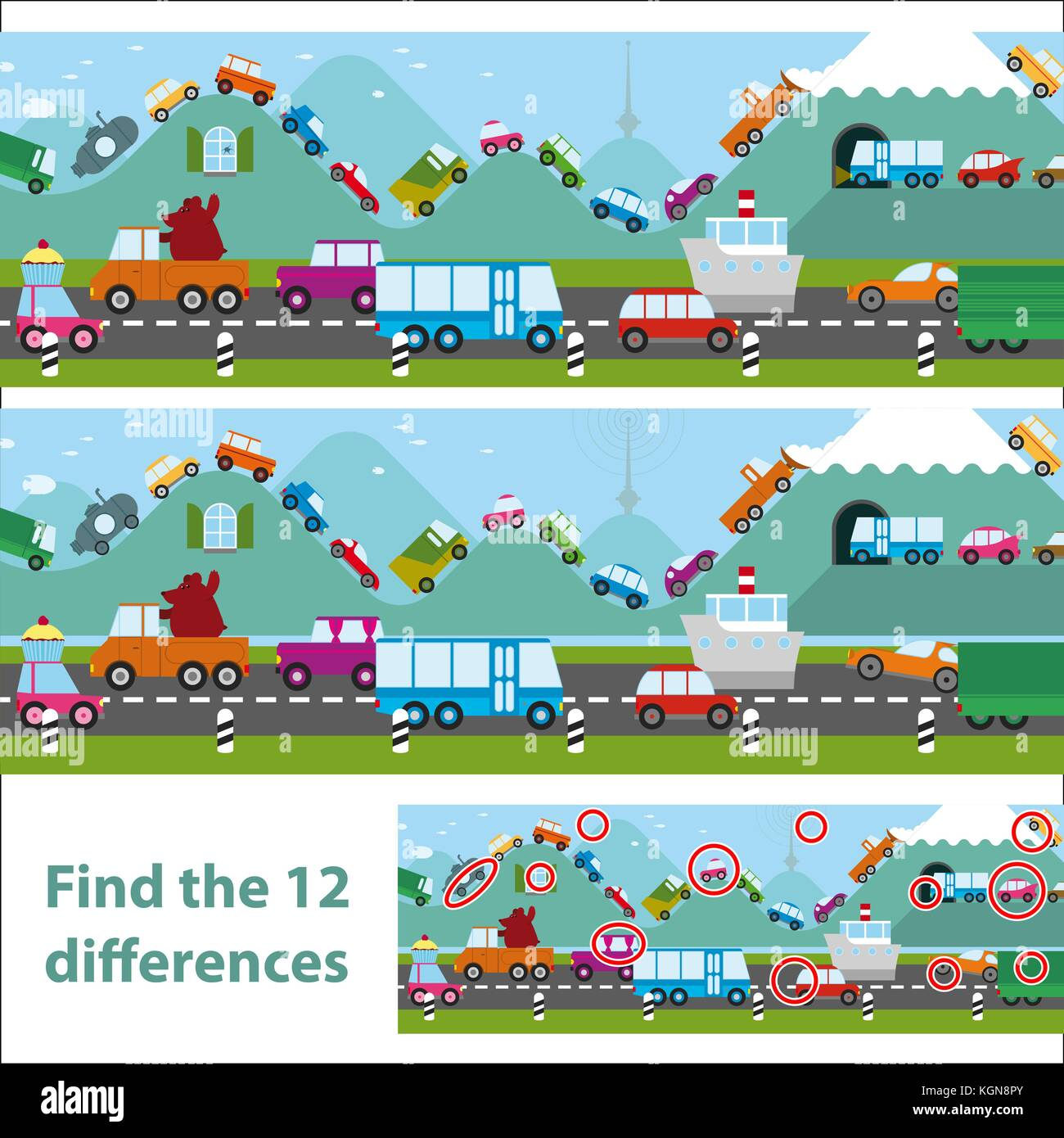 Find differences, education game for children. Transportation theme with different vehicles on a street. - Stock Vector