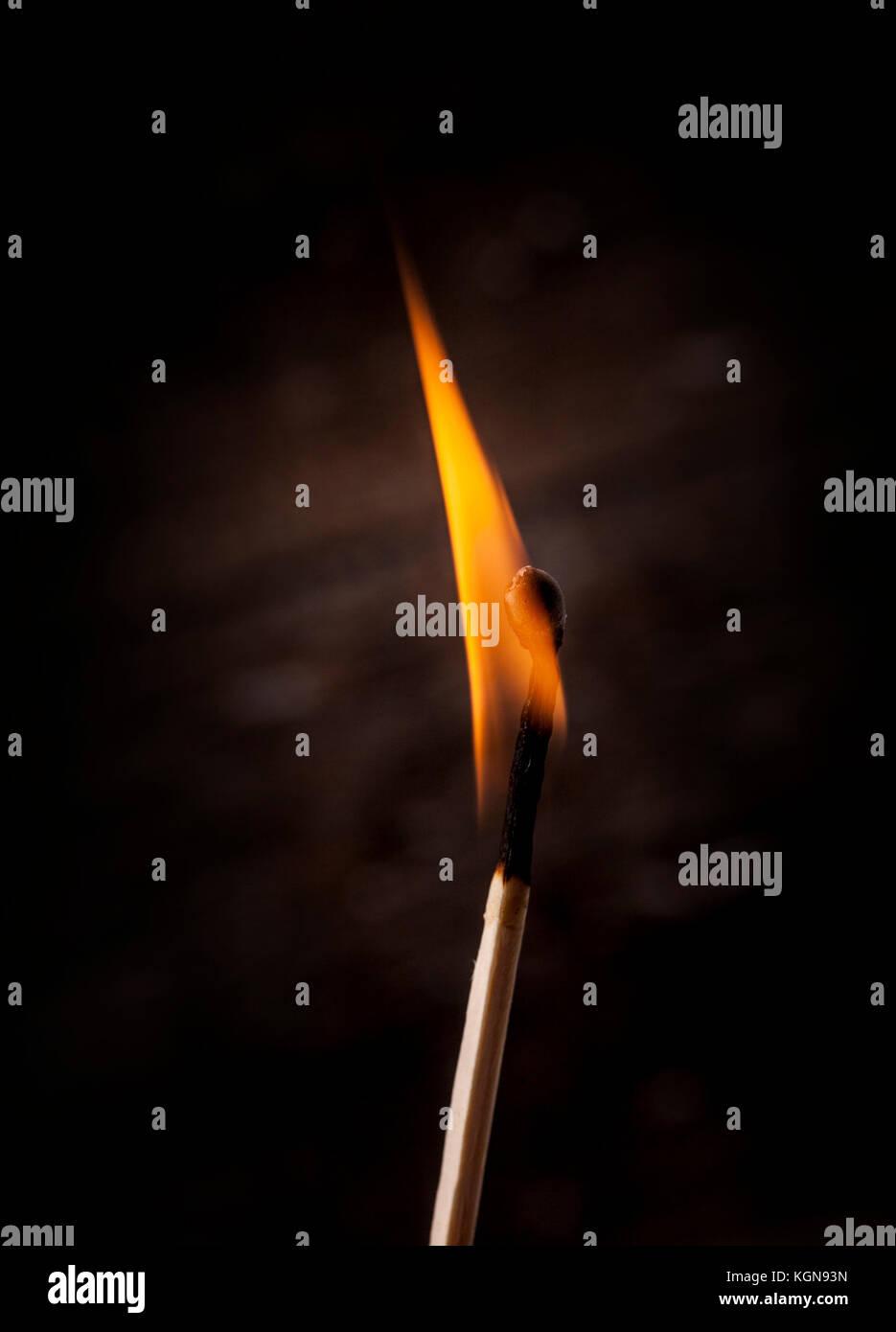 Matchstick burning on black background - Stock Image