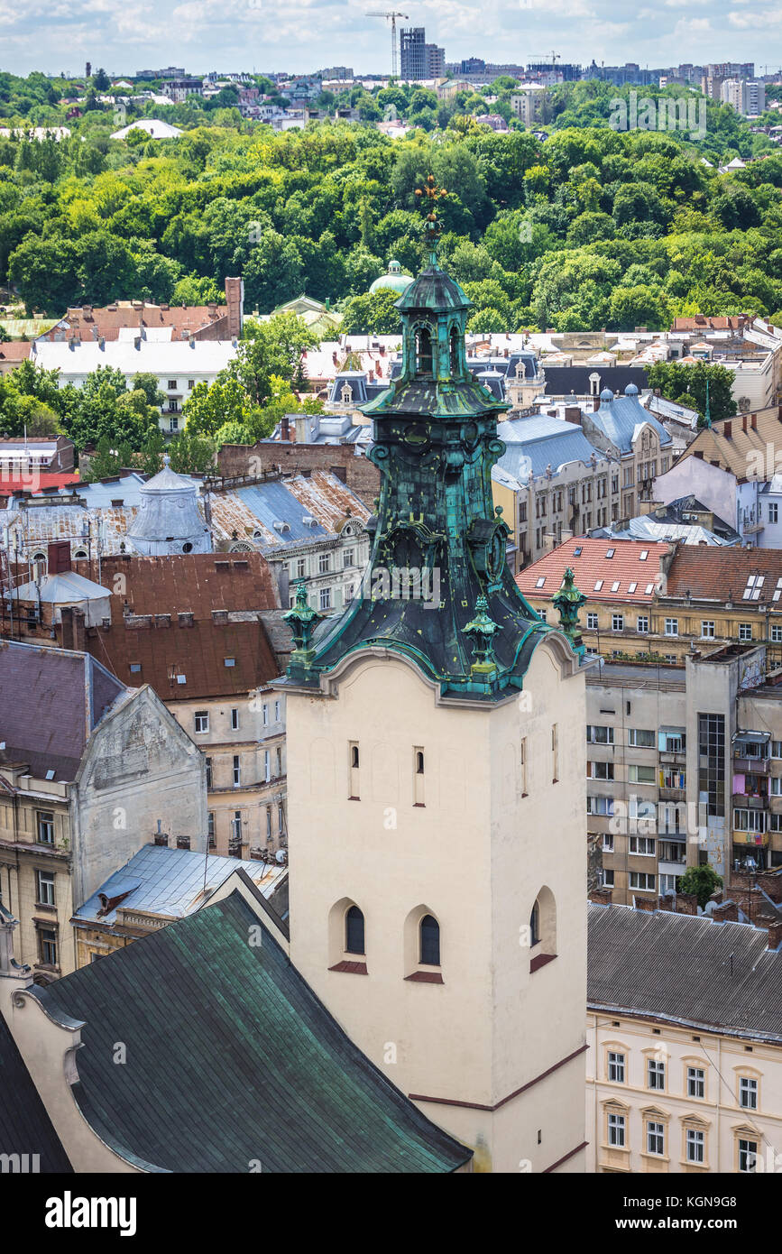 Archcathedral Basilica of the Assumption of the Blessed Virgin Mary, simply known as Latin Cathedral on the Old Town of Lviv city in Ukraine Stock Photo