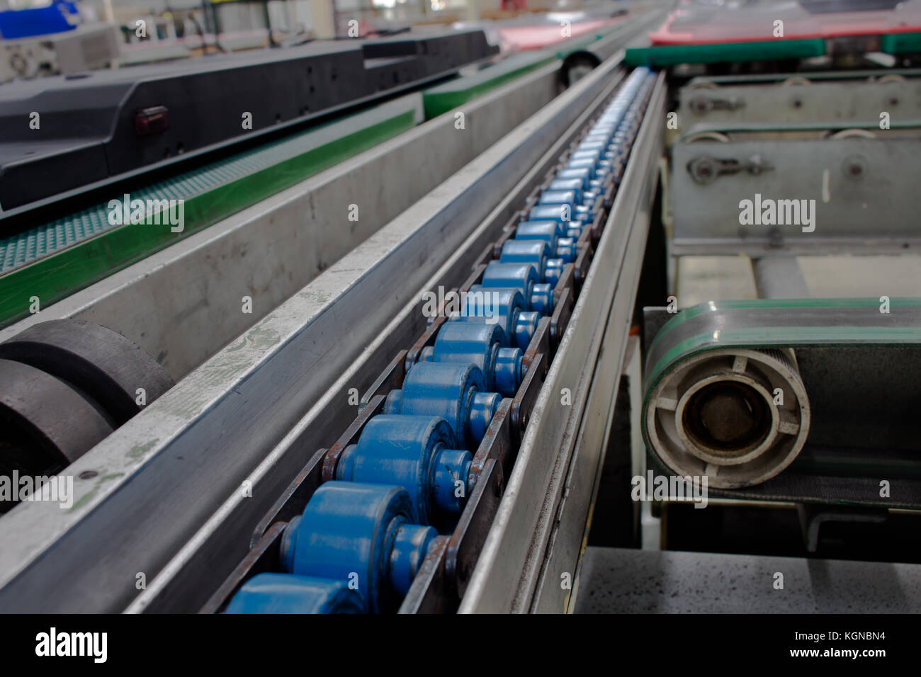 Conveyor in the production line of the factory. - Stock Image
