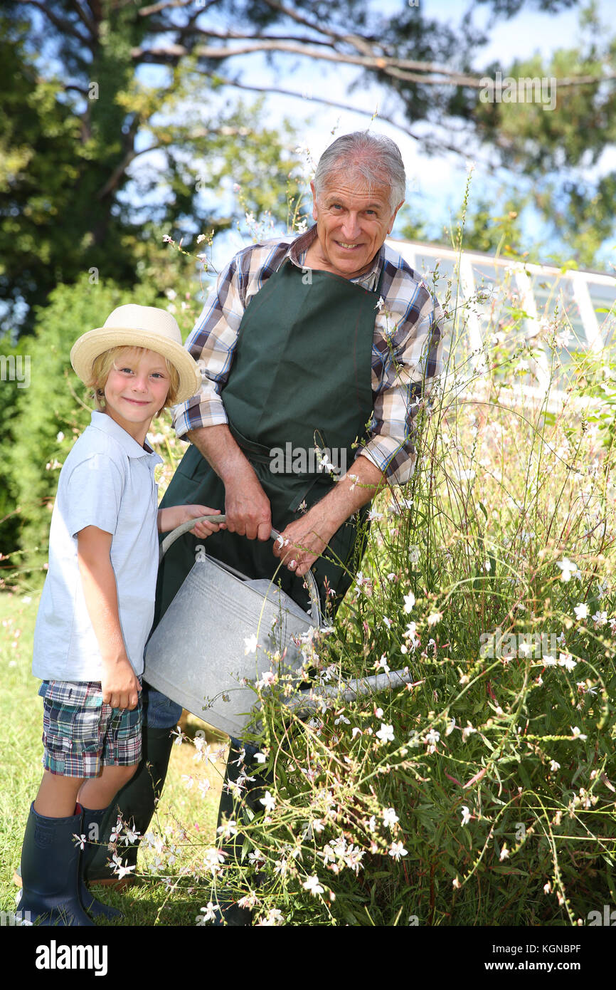 Senior man with grandkid watering plants - Stock Image