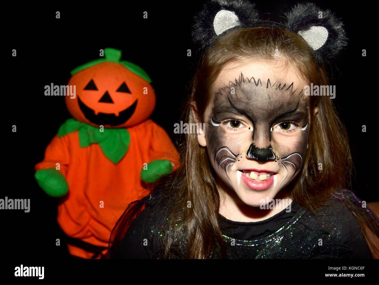 7 year old girl dressed up in costume for Halloween Bordon H&shire UK  sc 1 st  Alamy & Orange Cat Dressed Up Stock Photos u0026 Orange Cat Dressed Up Stock ...