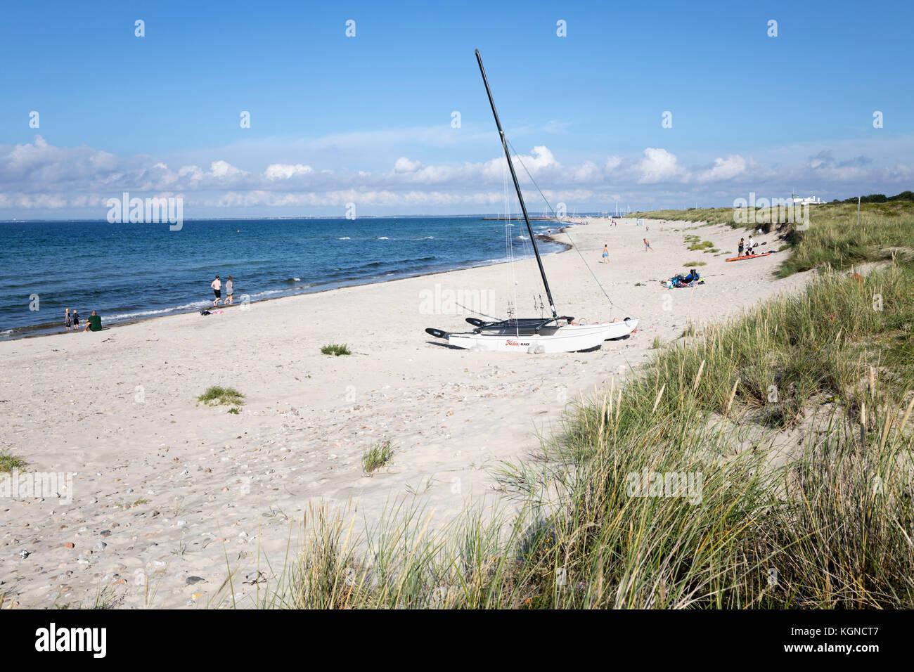 Hornbaek beach with white sand and sand dunes, Hornbaek, Kattegat Coast, Zealand, Denmark, Europe - Stock Image