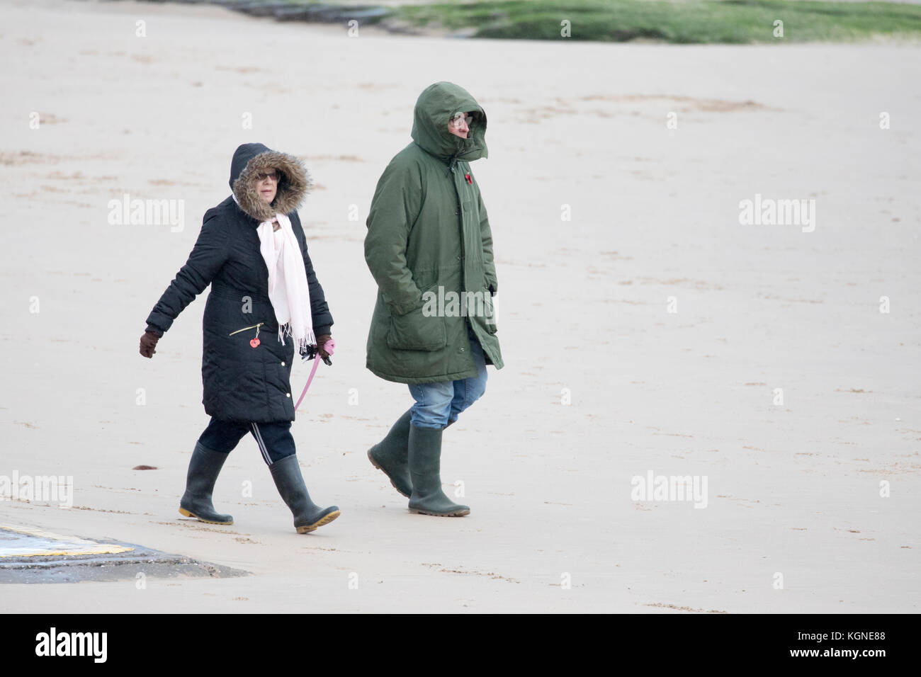 Dog walkers braving the cold windy conditions walking along the sandy shoreline and beach at New Brighton on Merseyside, - Stock Image