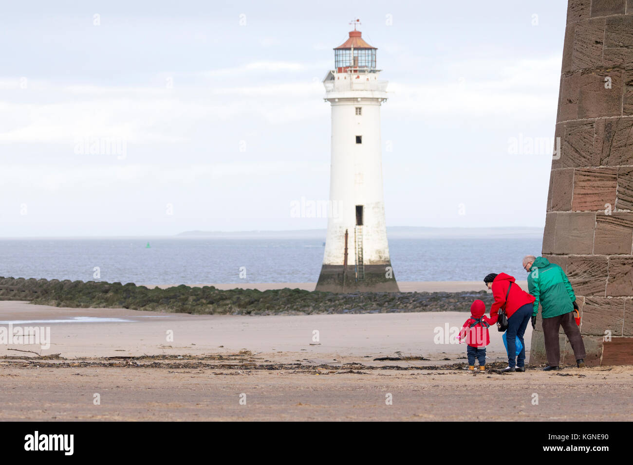 New Brighton Wirral, UK Weather. Windy, showery weather passing over from the west today to leave a bright afternoon - Stock Image