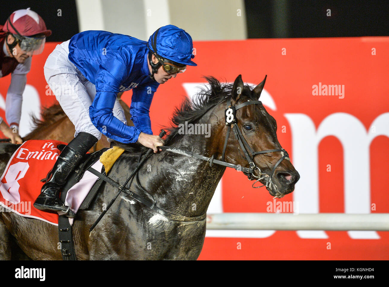 Dubai, UAE. 9th Nov, 2017. NAAEEBB, ridden by jockey Pat Cosgrave and trained by Saeed bin Suroor of Godolphin wins - Stock Image
