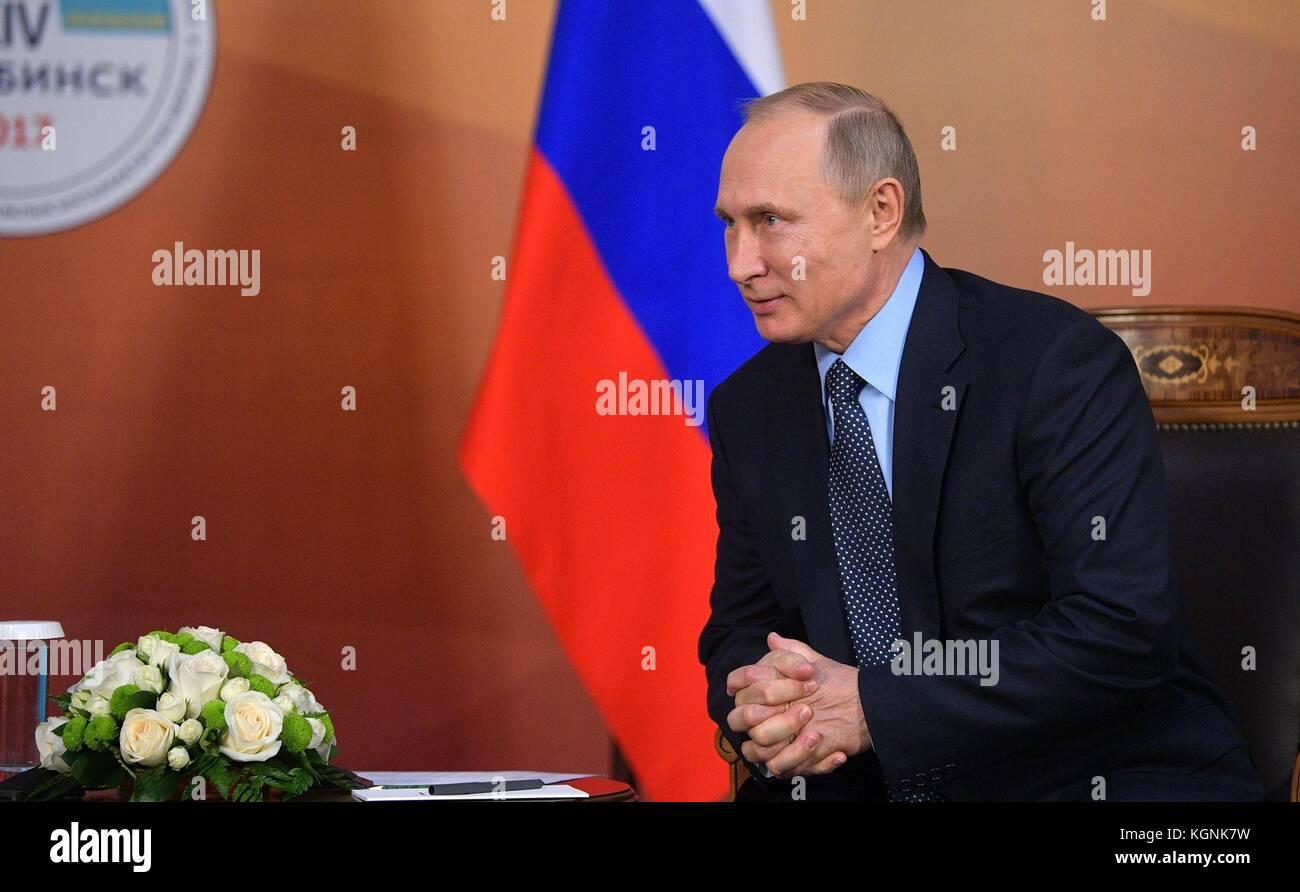 Chelyabinsk, Russia. 09th Nov, 2017. Russian President Vladimir Putin during a bilateral meeting with Kazakhstan - Stock Image