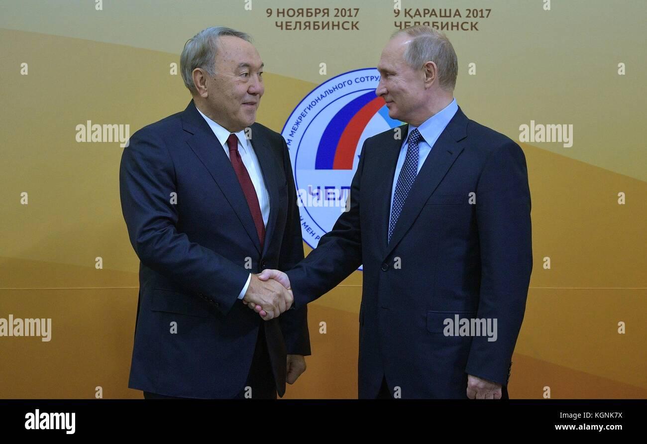Chelyabinsk, Russia. 09th Nov, 2017. Russian President Vladimir Putin welcomes Kazakhstan President Nursultan Nazarbayev - Stock Image
