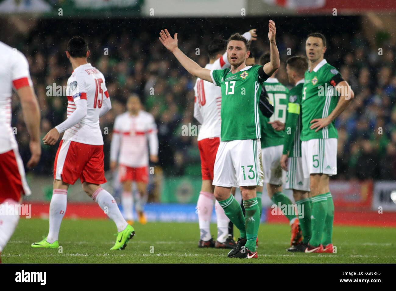 Belfast, Ireland. 9th Nov, 2017. Northern Ireland v Switzerland - 2018 World Cup Qualifying - Play Off - First Leg - Stock Image