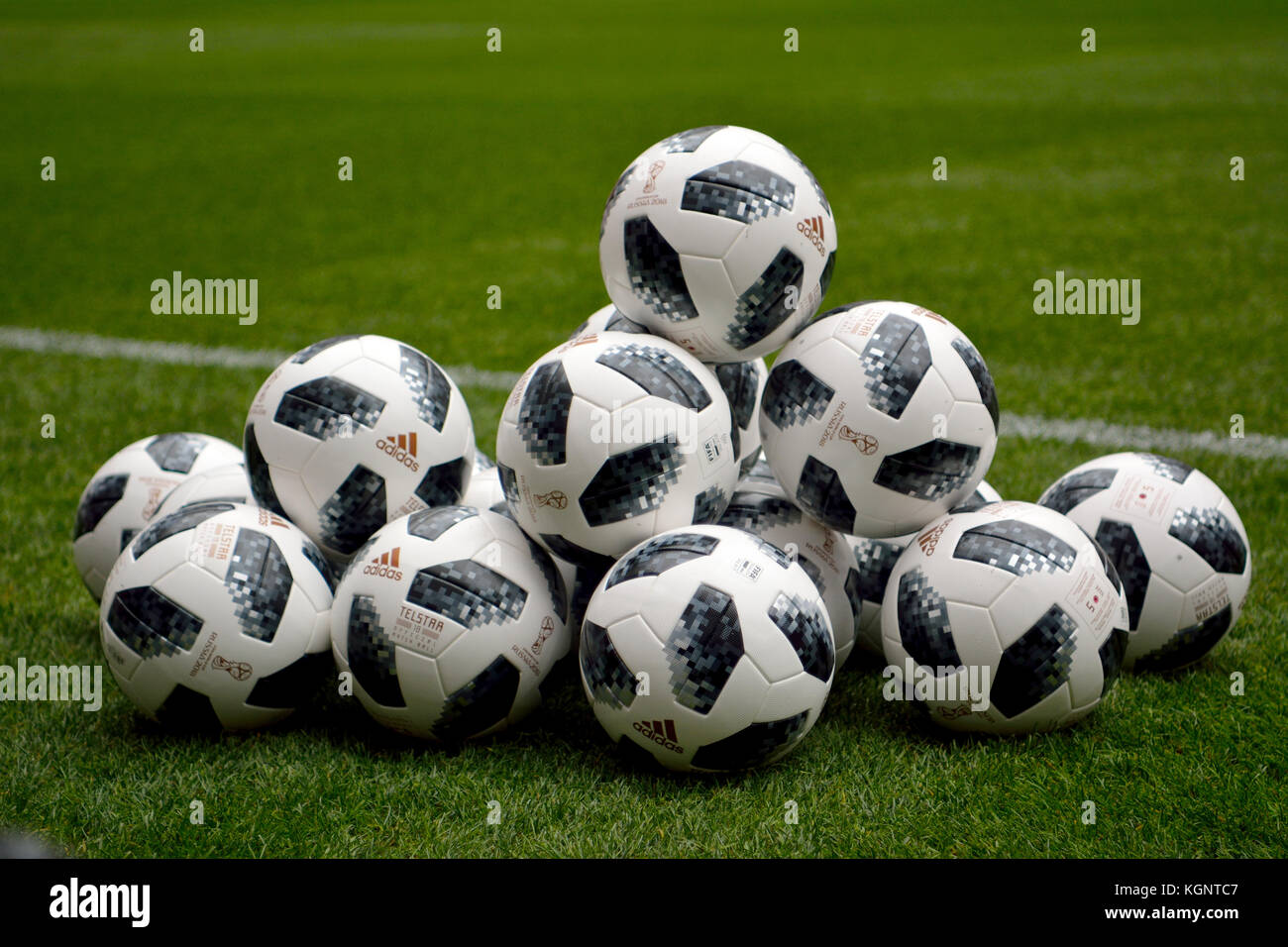 Moscow, Russia. 10th Nov, 2017. Official World Cup 2018 match balls at Luzhniki stadium in Moscow. Credit: Alizada - Stock Image
