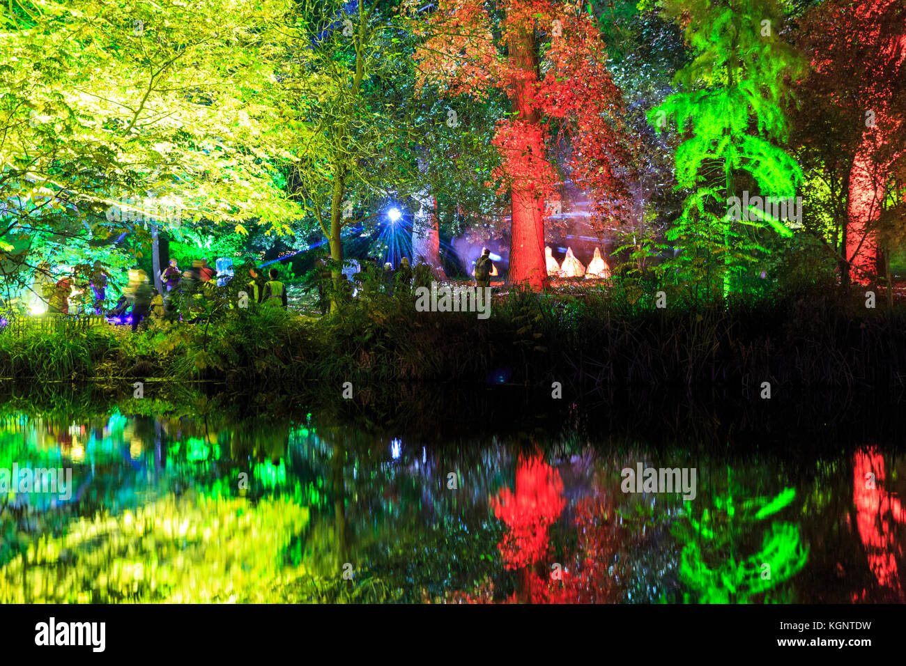 Syon Park, London, UK. 10th Nov, 2017. A trail leads visitors through the illuminated Syon Park with beautifully Stock Photo