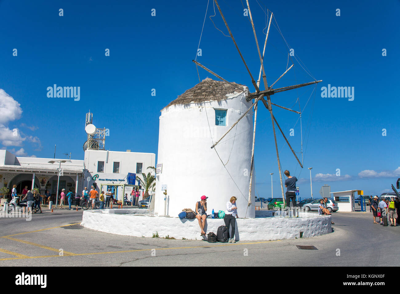 Windmill at the harbour of Parikia, Paros island, Cyclades, Aegean, Greece - Stock Image