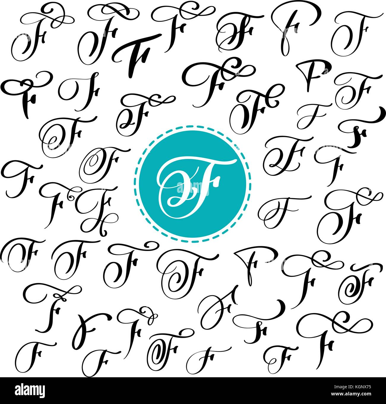 Set Of Hand Drawn Vector Calligraphy Letter F Script Font Isolated Letters Written With Ink Handwritten Brush Style Lettering For Logos Packaging