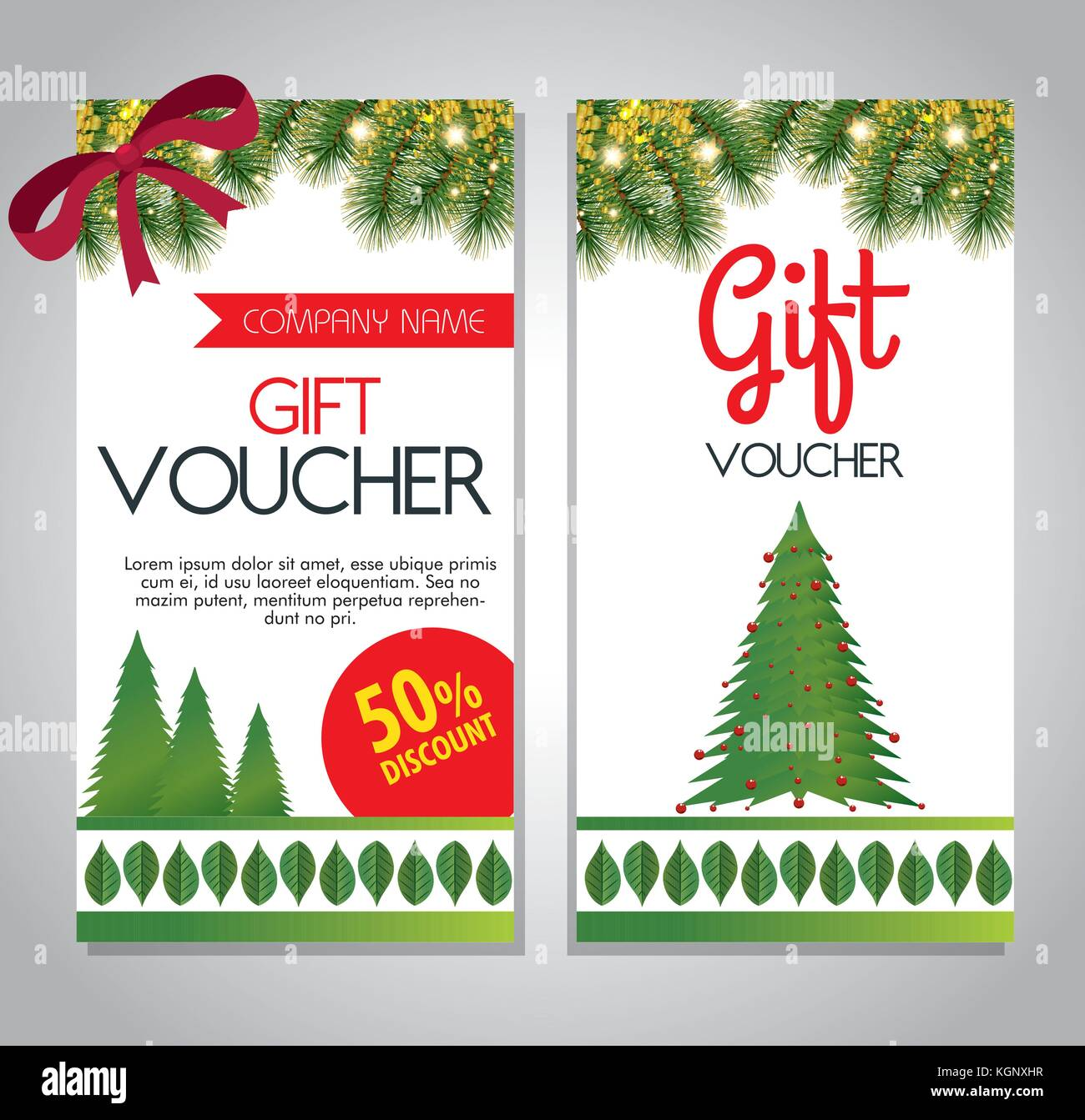 Christmas Gift Voucher Gift Card Vector Illustration Graphic Design Stock Vector Image Art Alamy