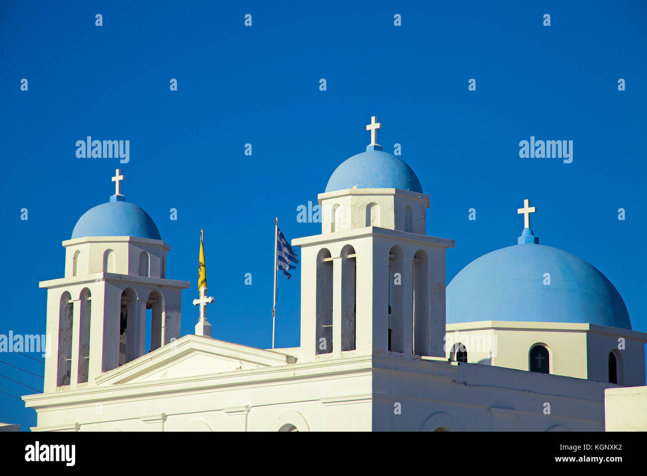 Orthodox church at evening light, Parikia, Paros, Cyclades, Greece, Mediterranean Sea, Europe Stock Photo