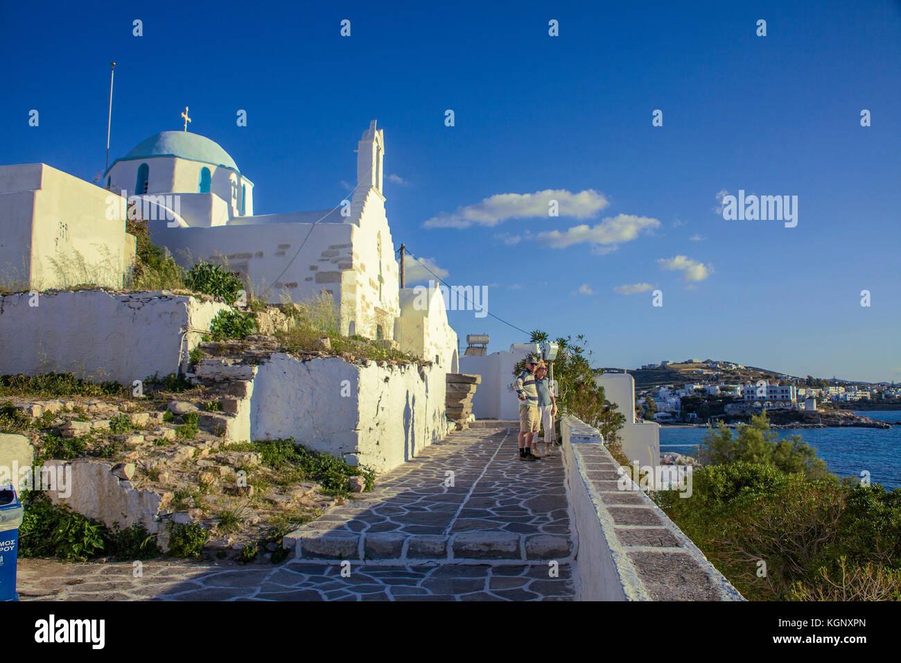 The church Agios Konstantinos and Aghia Eleni at soft evening light, Castro, Parikia, Paros Cyclades, Greece, Mediterranean - Stock Image