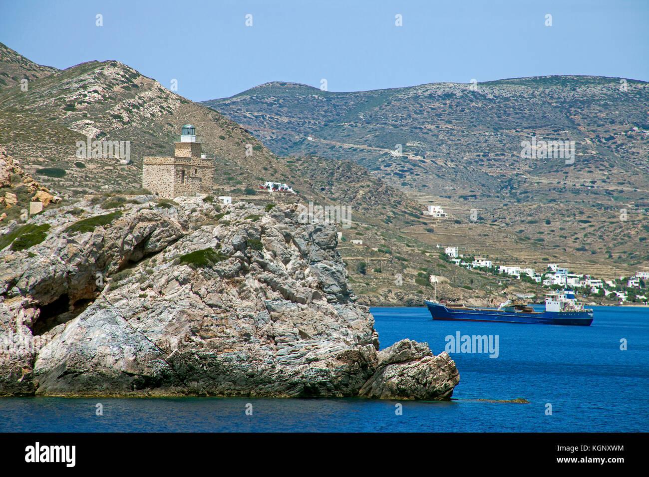 Lighthouse and coast landscape at Paros island, Cyclades, Aegean, Greece - Stock Image