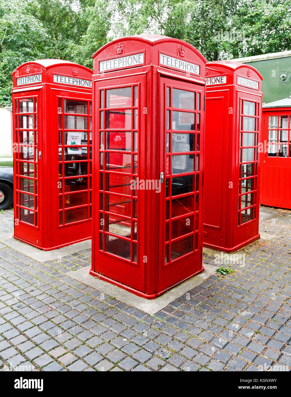 K6 phone boxes at the National Telephone Kiosk Collection at the Avoncroft Museum of Buildings, Stoke Heath, Bromsgrove, - Stock Image