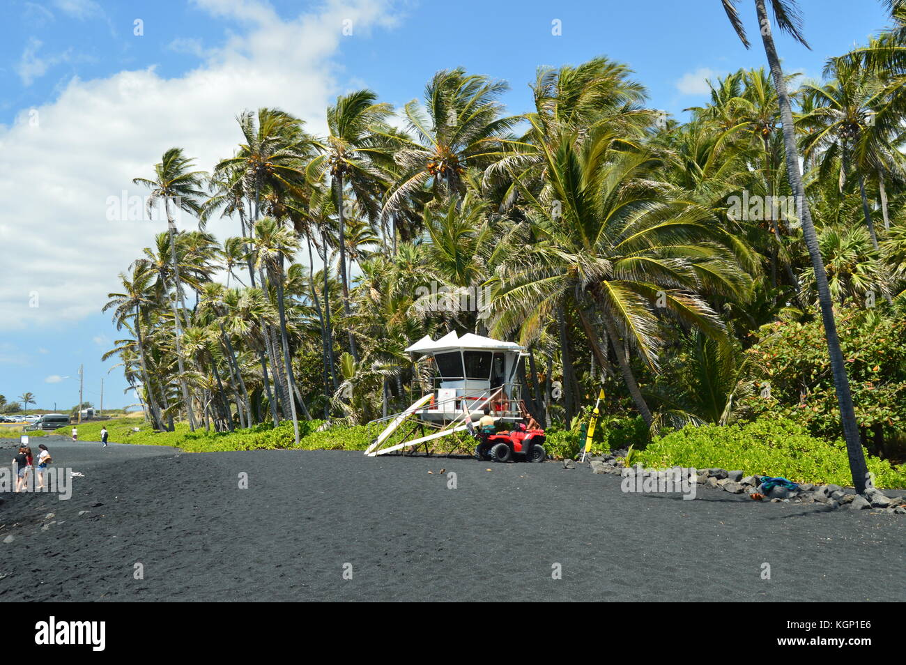 Black Sand Beach In Hawaii - Stock Image