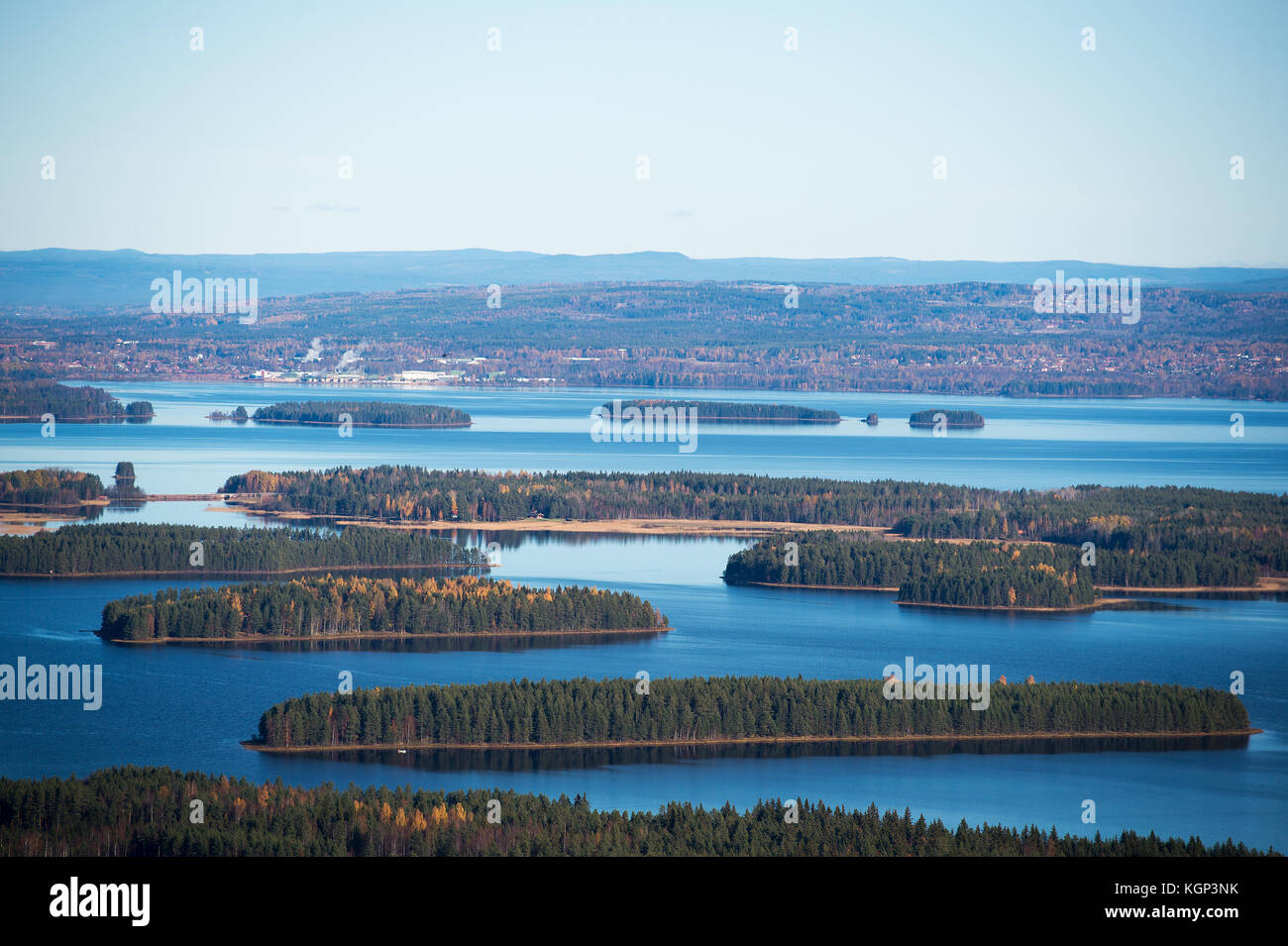 View from the top of Gesunda ski resort and lake Siljan - Stock Image