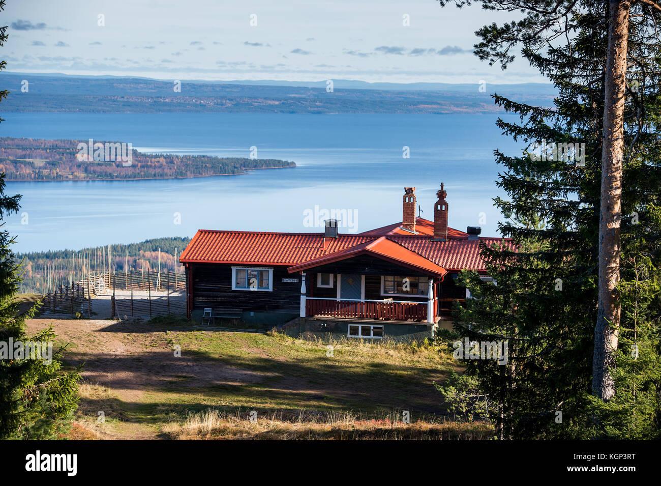 View from the top of Gesunda ski resort and lake Siljan - Stock Image