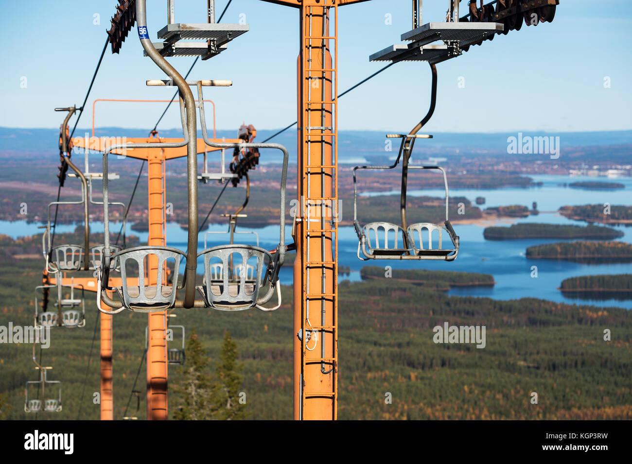 Old Ski lift in Dalarna - Stock Image